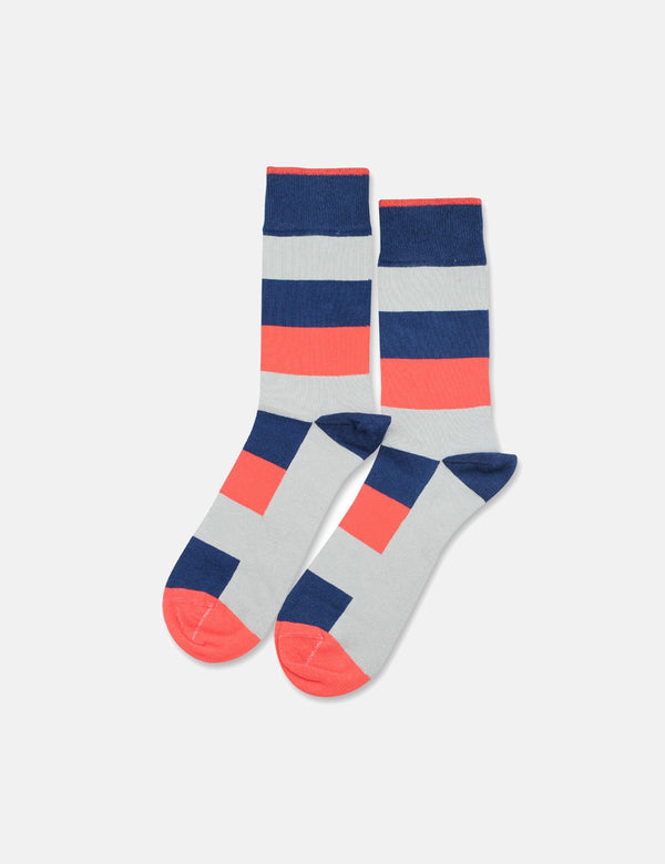 Democratique Originals Heavy Stripe Socks - New Blue/Opal/Hard Grey