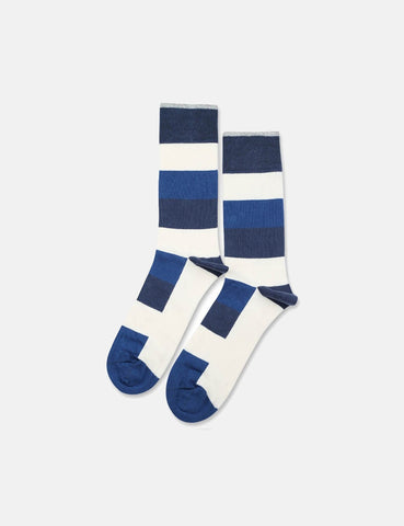 Democratique Originals Heavy Stripe Socks - New Blue/Off White/Shaded Blue