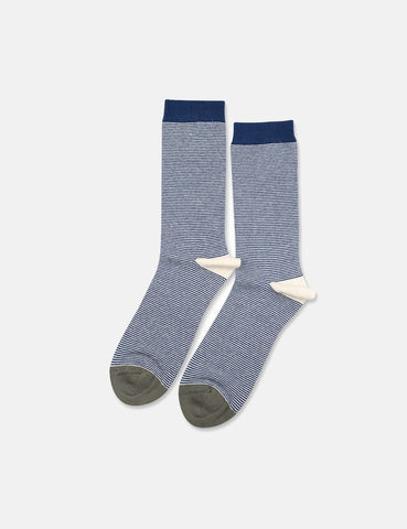 Democratique Originals Ultralight Stripe Socks - New Blue/Off White/Army Green