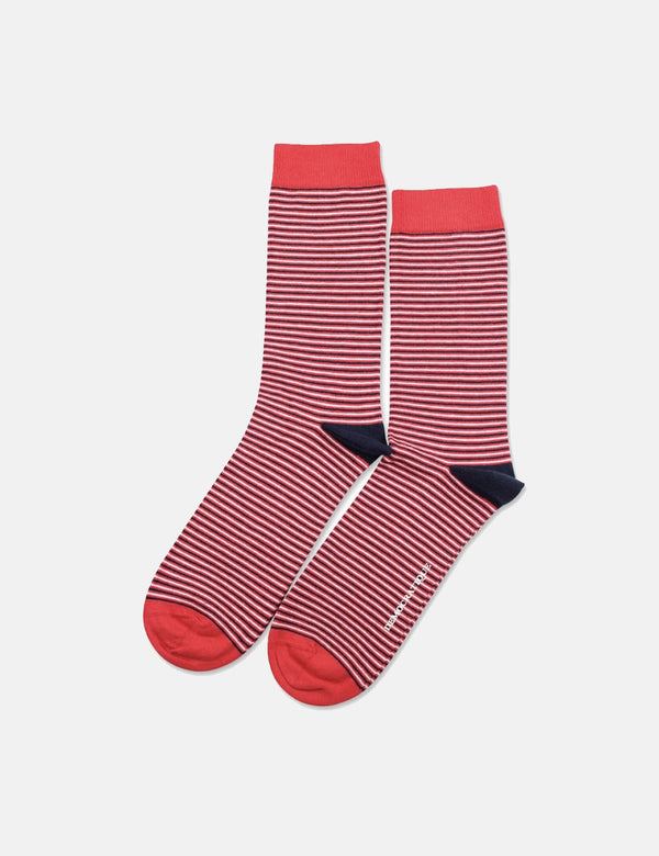 Democratique Originals Ultralight Stripe Socks - Spring Red/Navy Blue/Clear White