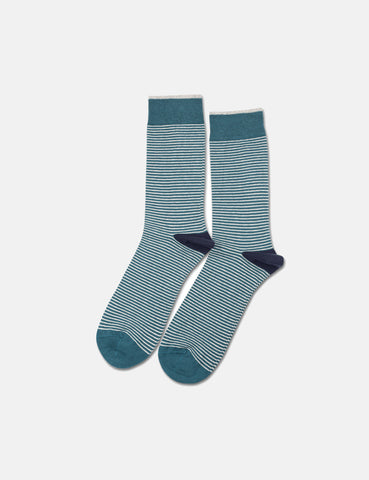 Democratique Mini Stripes Socks - Benzin Green/Off White/Navy Blue
