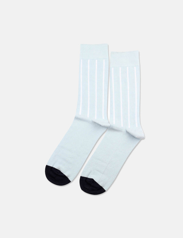 Democratique Originals Latitude Striped Socks - Light Blue/Clear White/Navy Blue