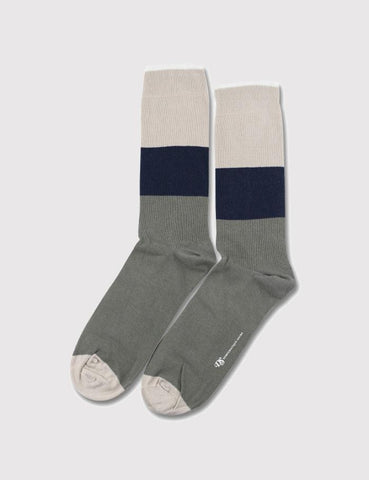 Democratique Block Party Socks - Army Green/Sand/Navy - Article