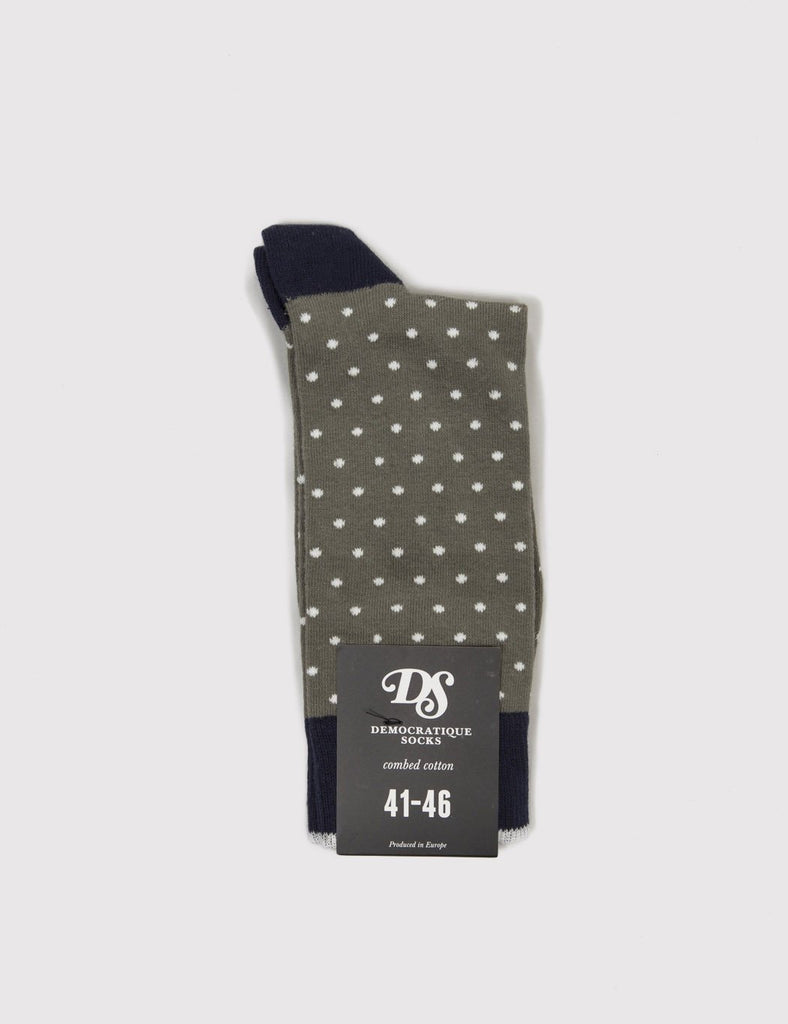 Democratique Pola Socks - Army Green/White/Navy - Article