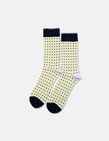 Democratique Original Polkadot Socks - Pale Yellow/Off White/Shaded Blue