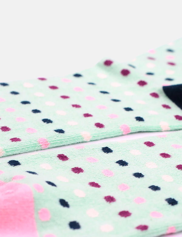 Democratique Polkadot Socks - Pale Green/ Off White/Pale Pink/Multi