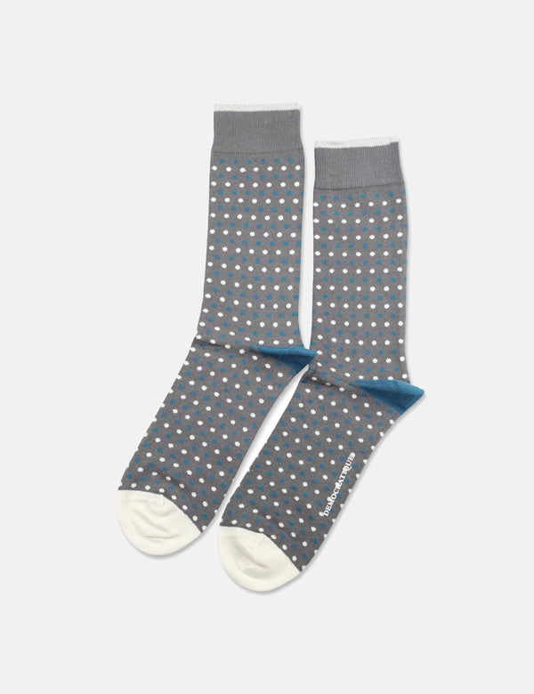 Democratique Originals Polkadot Socks - Warm Coal Grey/Off White/Diesel Blue