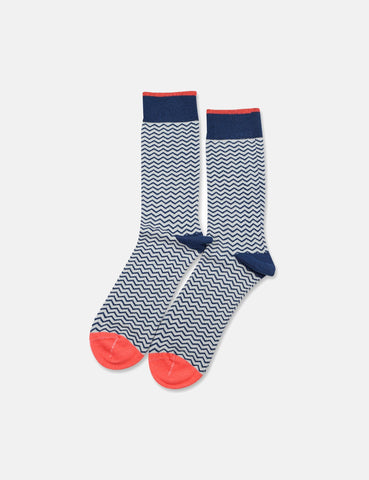 Democratique Originals Zig Zagger Socks - Hard Grey/Shaded Blue/Opal