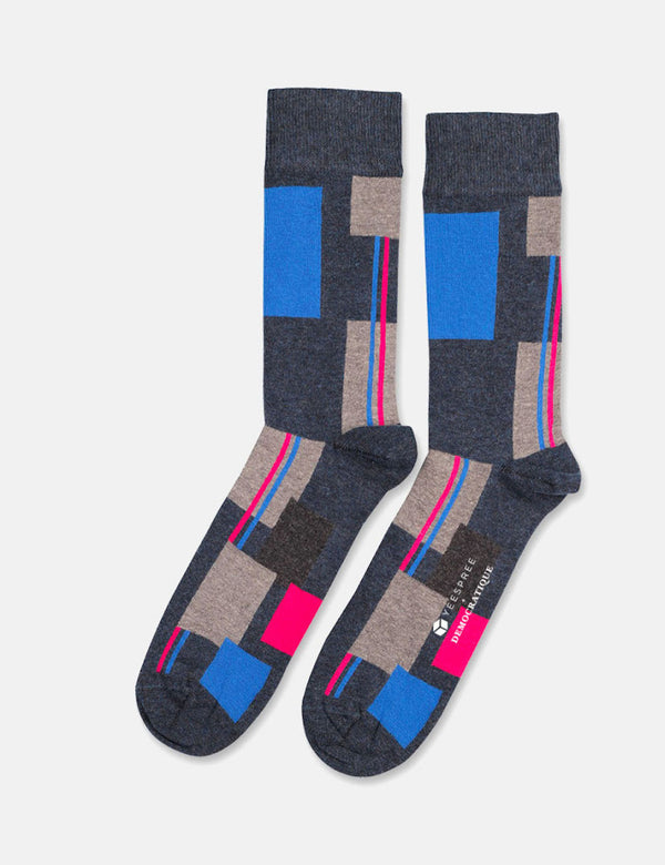 Democratique x YEESPREE Originals Patchwork Socks - Navy Blue Melange/Multi