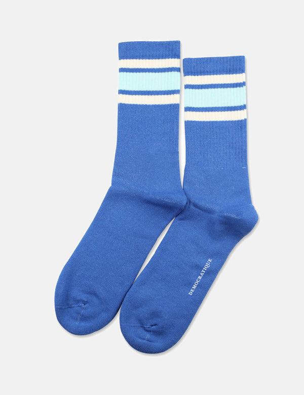 Democratique Athletic Classic Stripes Socks - Adams Blue/Poolside Green/Off White