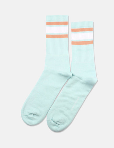 Democratique Athletic Classic Stripes Socks - Poolside Green/Clear White/Light Salmon