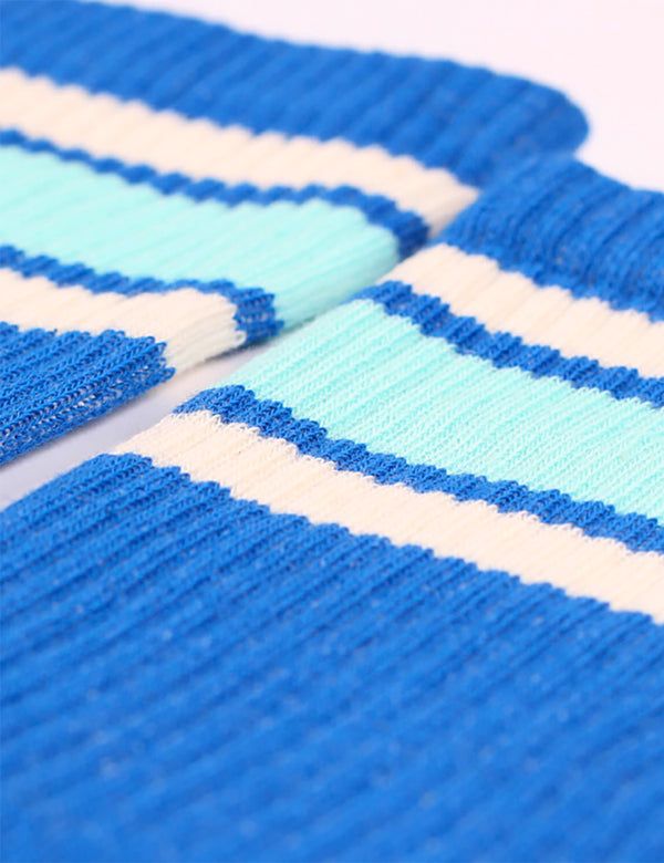 Democratique Athletic Stripe Socks - Adams Blue/Poolside Green/Off White