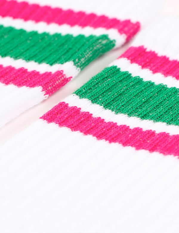 Democratique Athletic Stripe Socks - White/Tennis Green/Purplish Pink