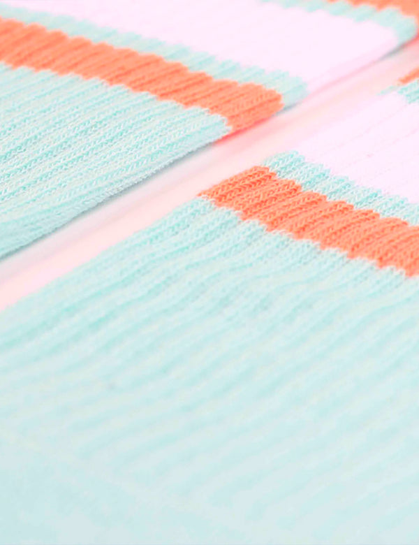 Democratique Athletic Stripe Socks - Poolside Green/Clear White/Light Salmon