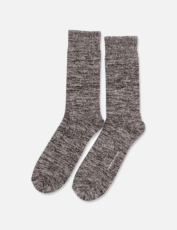 Democratique Relax Chunky Flat Knit Socks - Black/Light Grey Melange