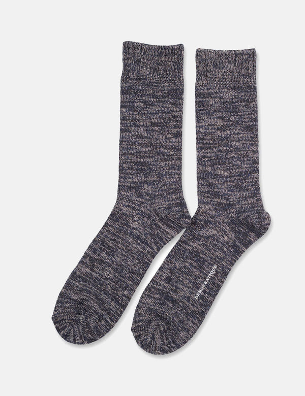 Democratique Relax Chunky Flat Knit Socks - Navy/Light Grey/Charcoal Melange