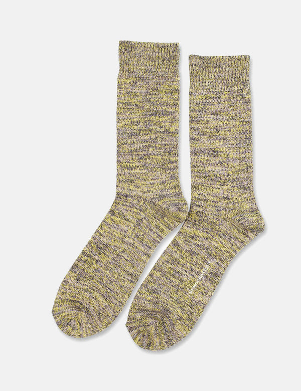 Democratique Relax Chunky Flat Knit Socks - Warm Grey/Soft Grey/Bright Yellow