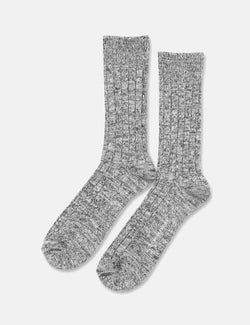 Democratique Relax Heavy Rib Supermelange Socks - Black/Grey/Off White