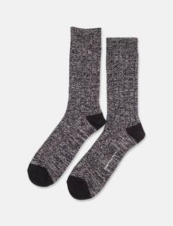 Democratique Socks Relax Fence Knit Supermelange - Navy Blue/Light Grey