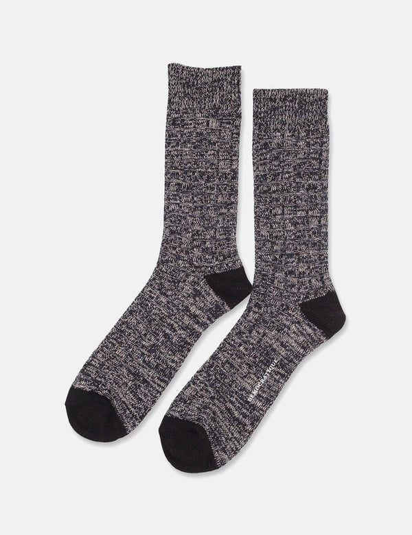 Democratique Socks Relax Fence KnitSupermelange-ネイビーブルー/ライトグレー