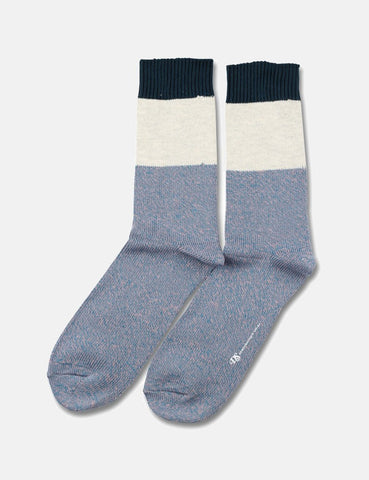 Democratique Relax Block Socks - Petroleum Blue/Pink/Off White/Dark Emerald - Article