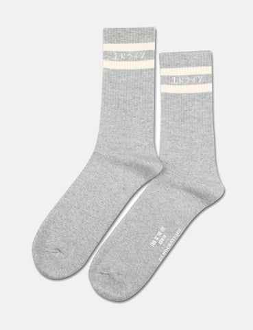 Democratique X Edwin Athletique 'This Is The Life' Socks - Light Grey Melange/Off White