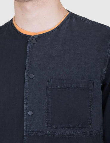 Folk Combination Pop Stud Shirt - Black