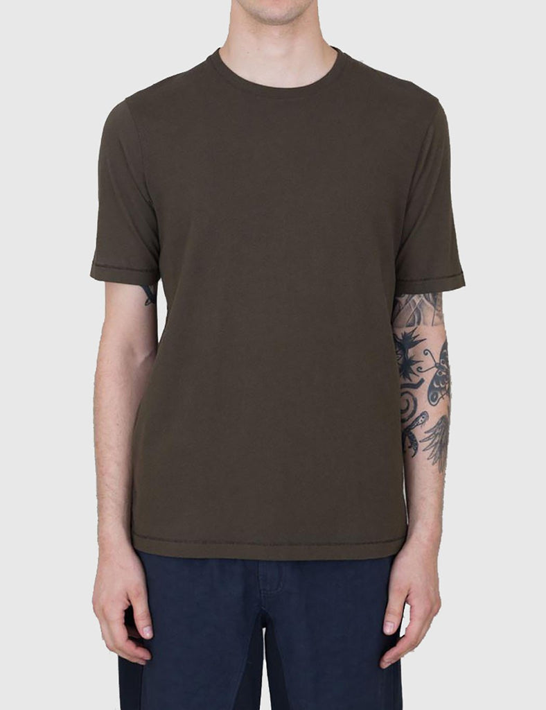 Folk Contrast Sleeve T-Shirt - Military Green