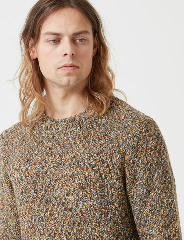 Folk Mixed Yarn Knit Sweatshirt - Caramel Mix Brown