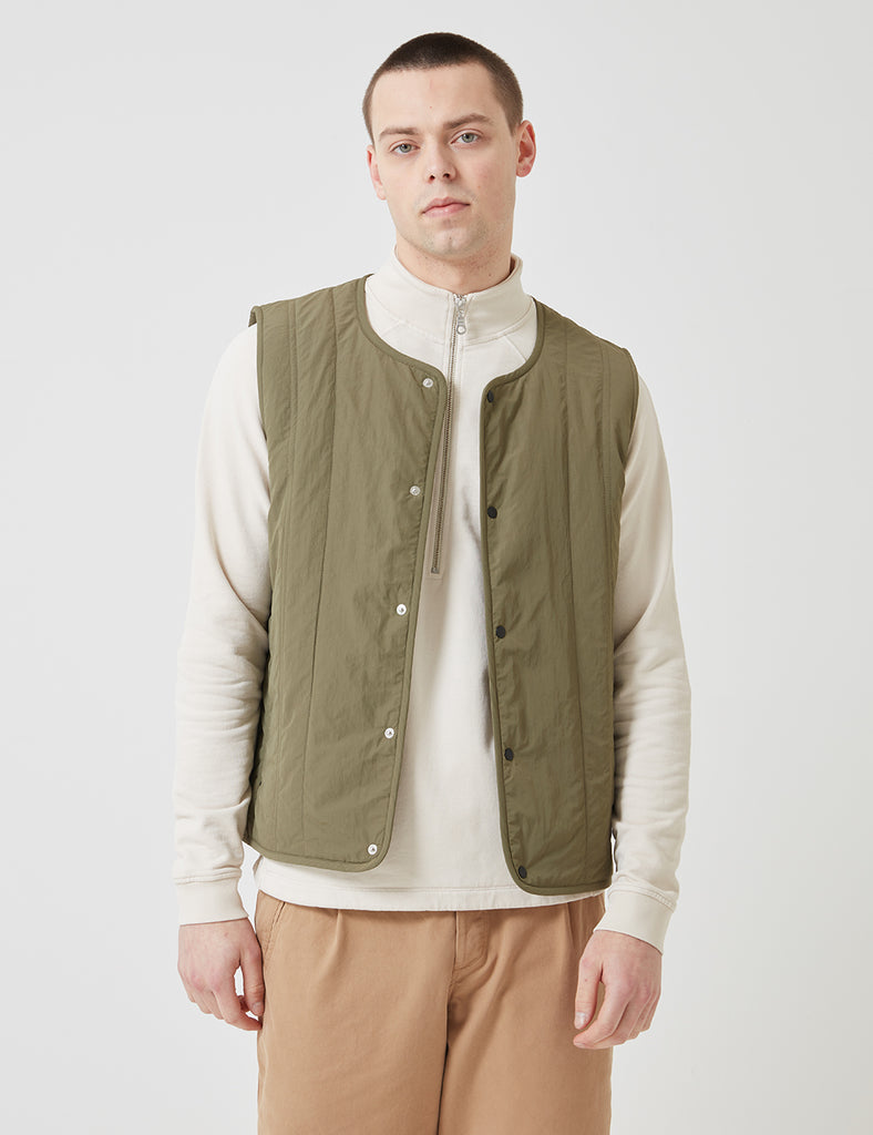 Folk Outline Gilet - Olive Green