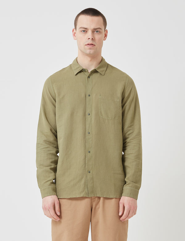 Folk Stitch Pocket Shirt - Olive Green