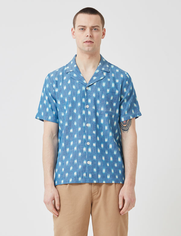Folk Soft Collar Shirt - Blue Oxford Grid