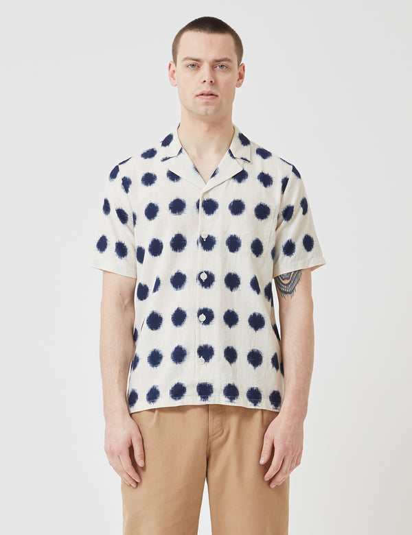 Folk Soft Collar Shirt - Ecru/Indigo Dot
