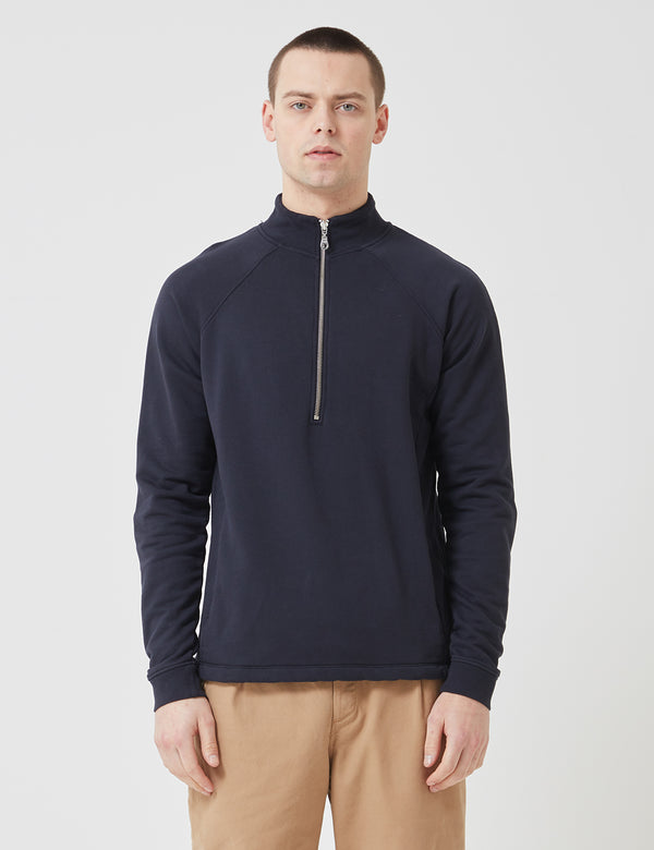 Folk Rivet Funnel Neck Sweatshirt - Navy Blue