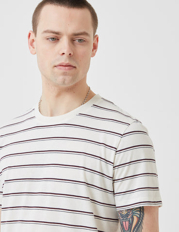 Folk Striped Tee - Ecru/Plum/Navy Blue