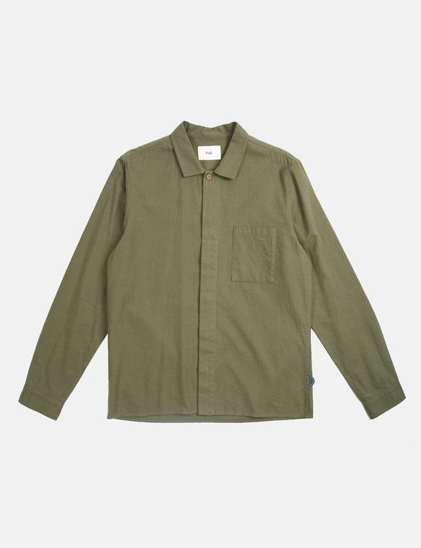 Folk Patch Shirt (Flannel Cotton) - Green