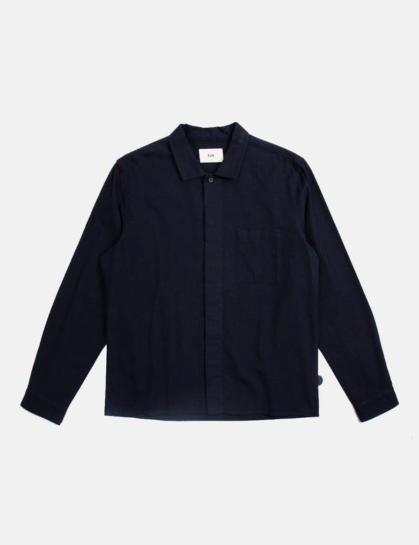 Folk Patch Shirt (Flannel Cotton) - Navy