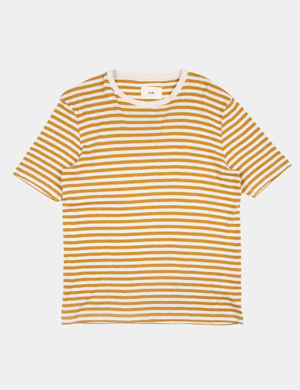 Folk Classic Stripe Tee - Ecru/Golden Yellow