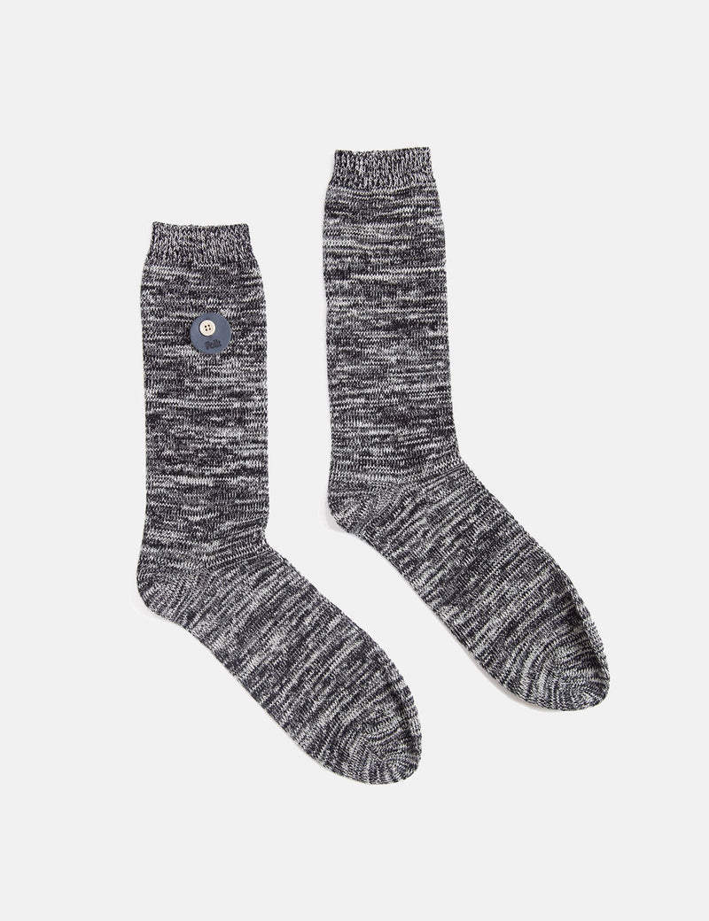 Folk Melange Socks - Black