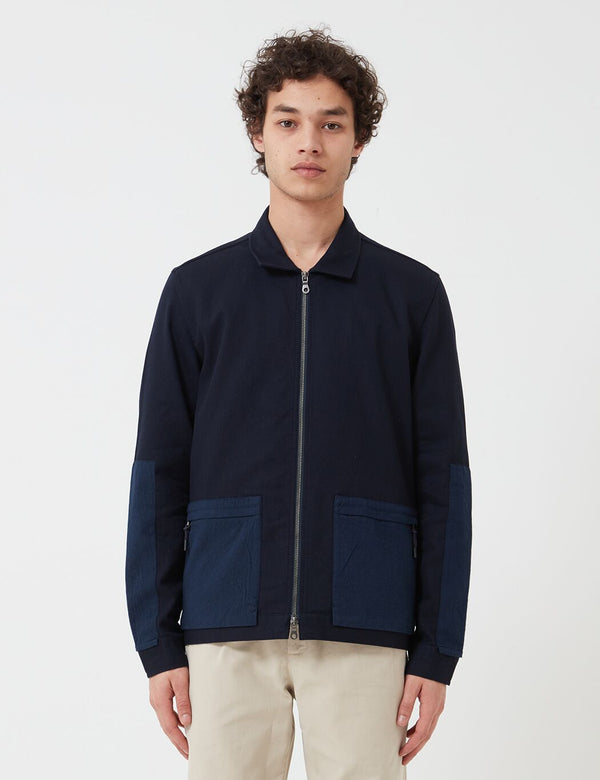 Folk Overlay Jacket - Navy Blue
