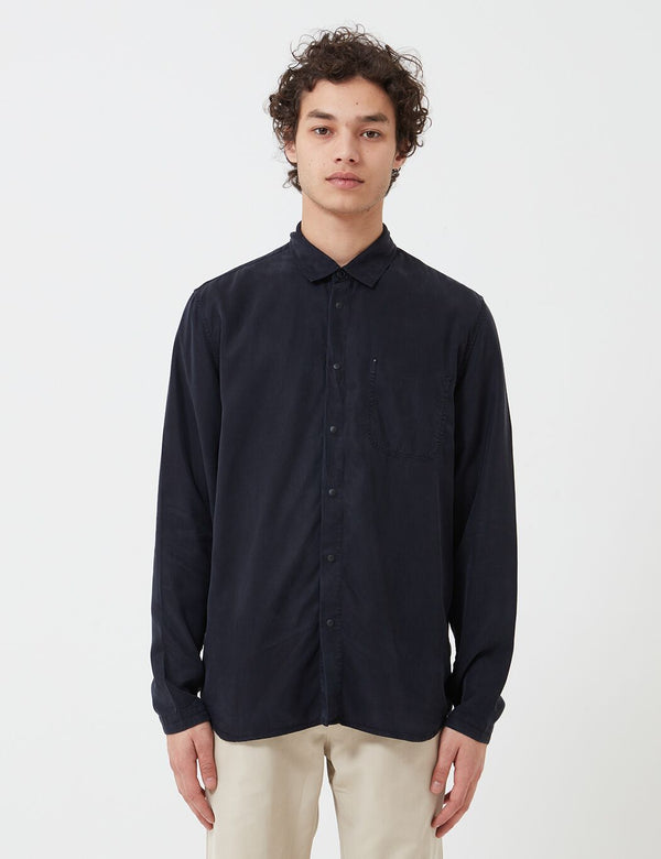 Folk Soft Stitch Pocket Shirt - Navy Blue