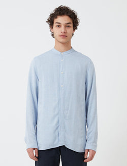 Folk Half Placket Grandad Shirt - Blue Slub