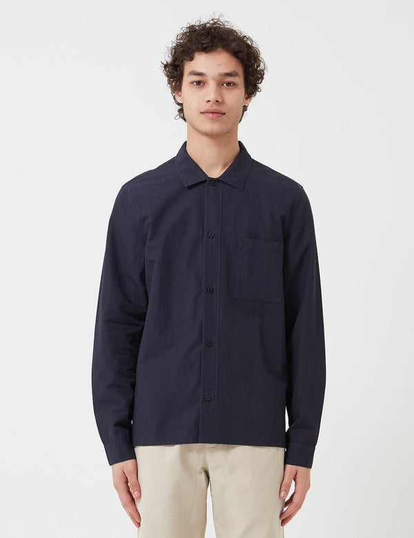 Folk Emboss Shirt - Navy Blue