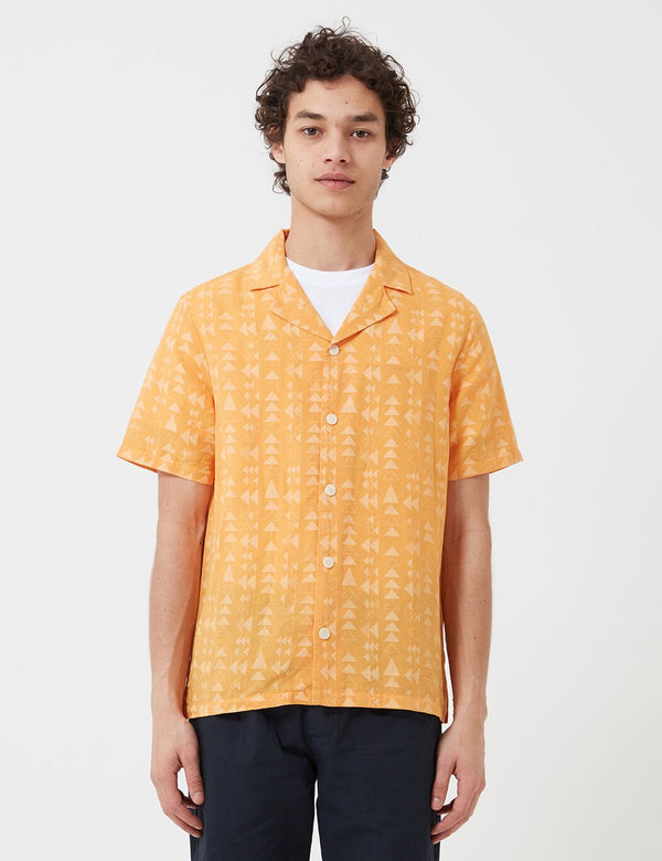 Folk Soft Collar Shirt (Tile Print) - Marigold