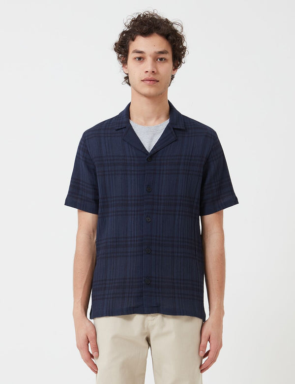 Folk Soft Collar Shirt (Overdyed Crepe Check) - Navy Blue