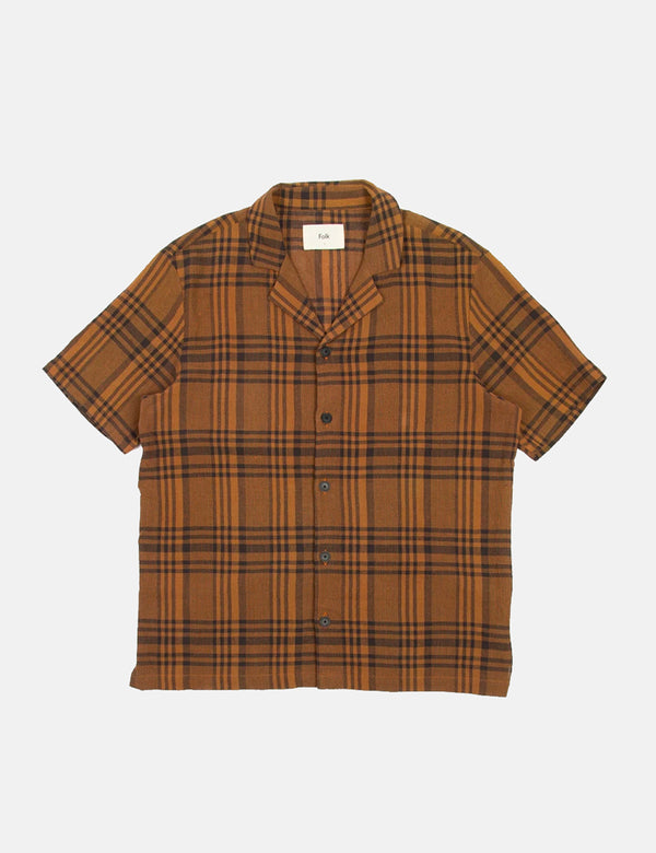 Folk Soft Collar Shirt (Overdyed Crepe Check) - Teak