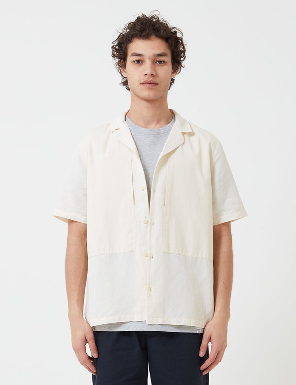 Folk Overlay Short Sleeve Shirt - Ecru