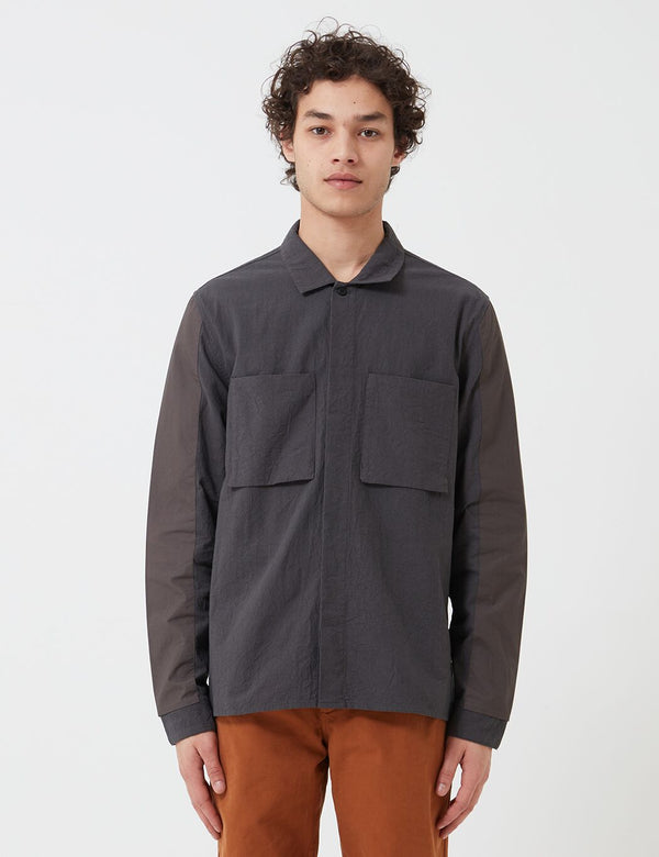 Folk Overlay Overshirt - Charcoal