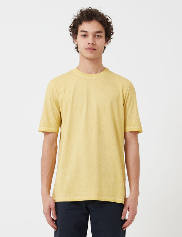 Folk Contrast Sleeve T-Shirt (Cold Dye) - Light Gold