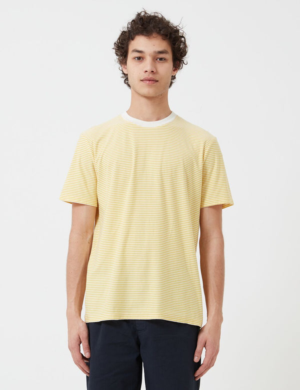 Folk 1x1 Stripe T-Shirt - Light Gold/Ecru